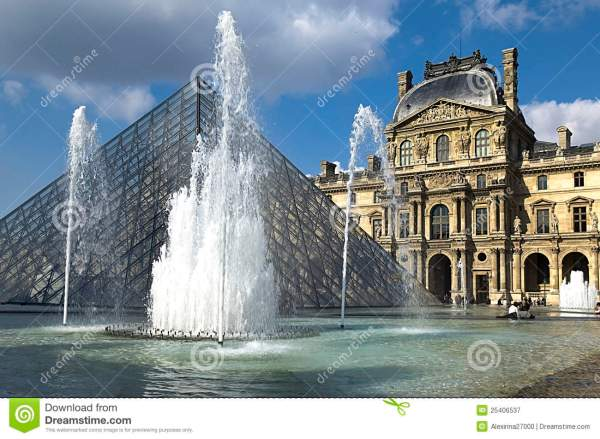 Glass Pyramid And Fountain Louvre Museu