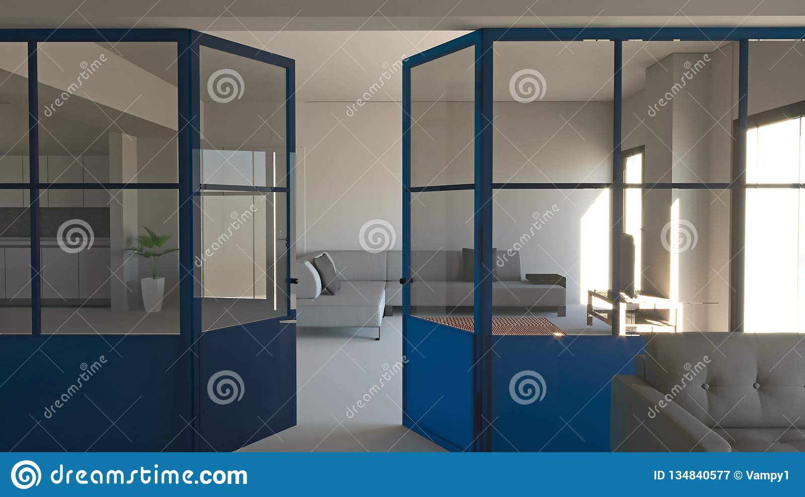 Glass Wall In Blue Iron And Glass Living Room Living Space And Kitchen Modern Interior Design Stock Image Image Of Cement Interior 134840577