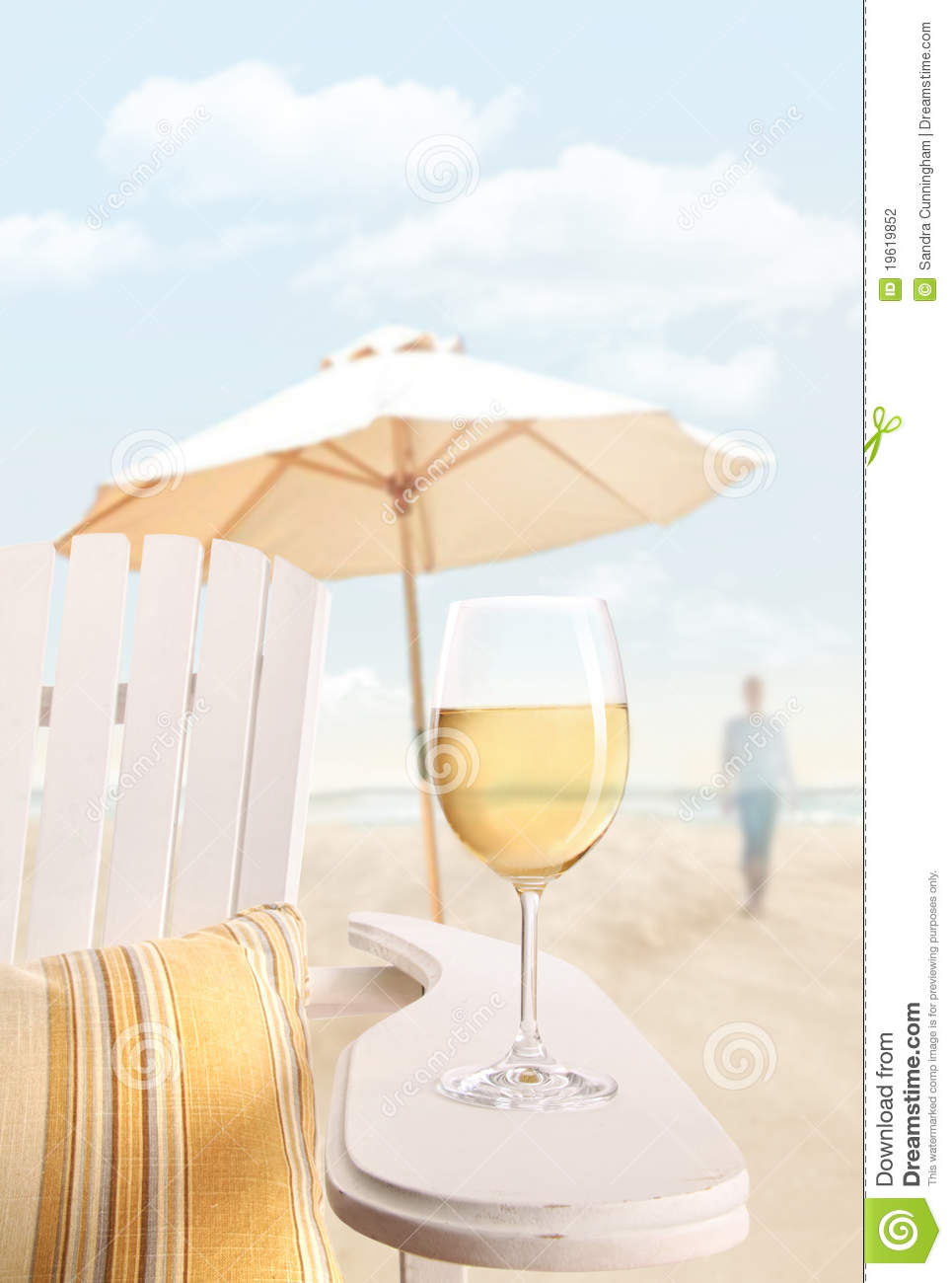 Glass Of Wine On Adirondack Chair At The Beach Stock