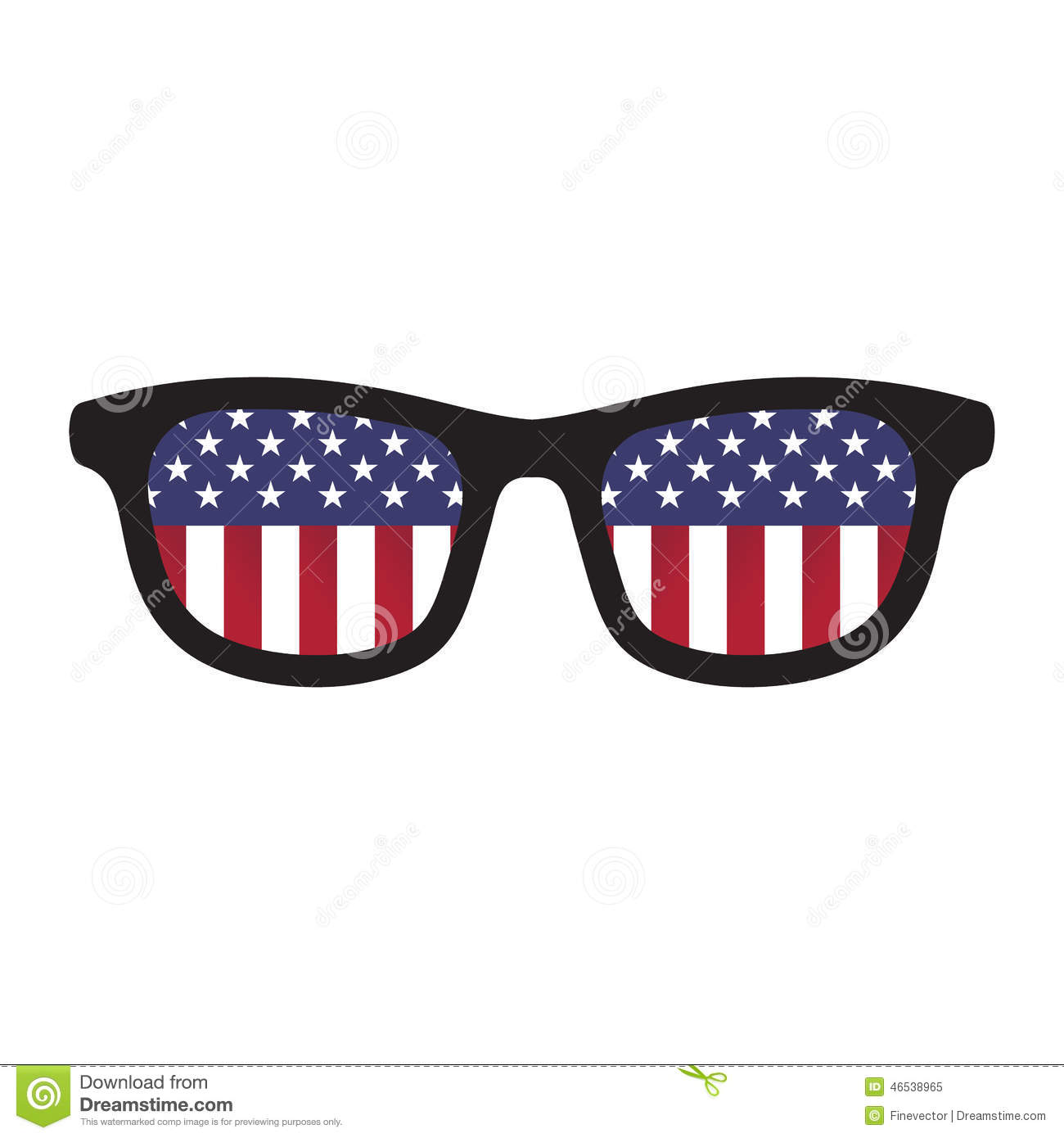 hight resolution of glasses with american flag colors