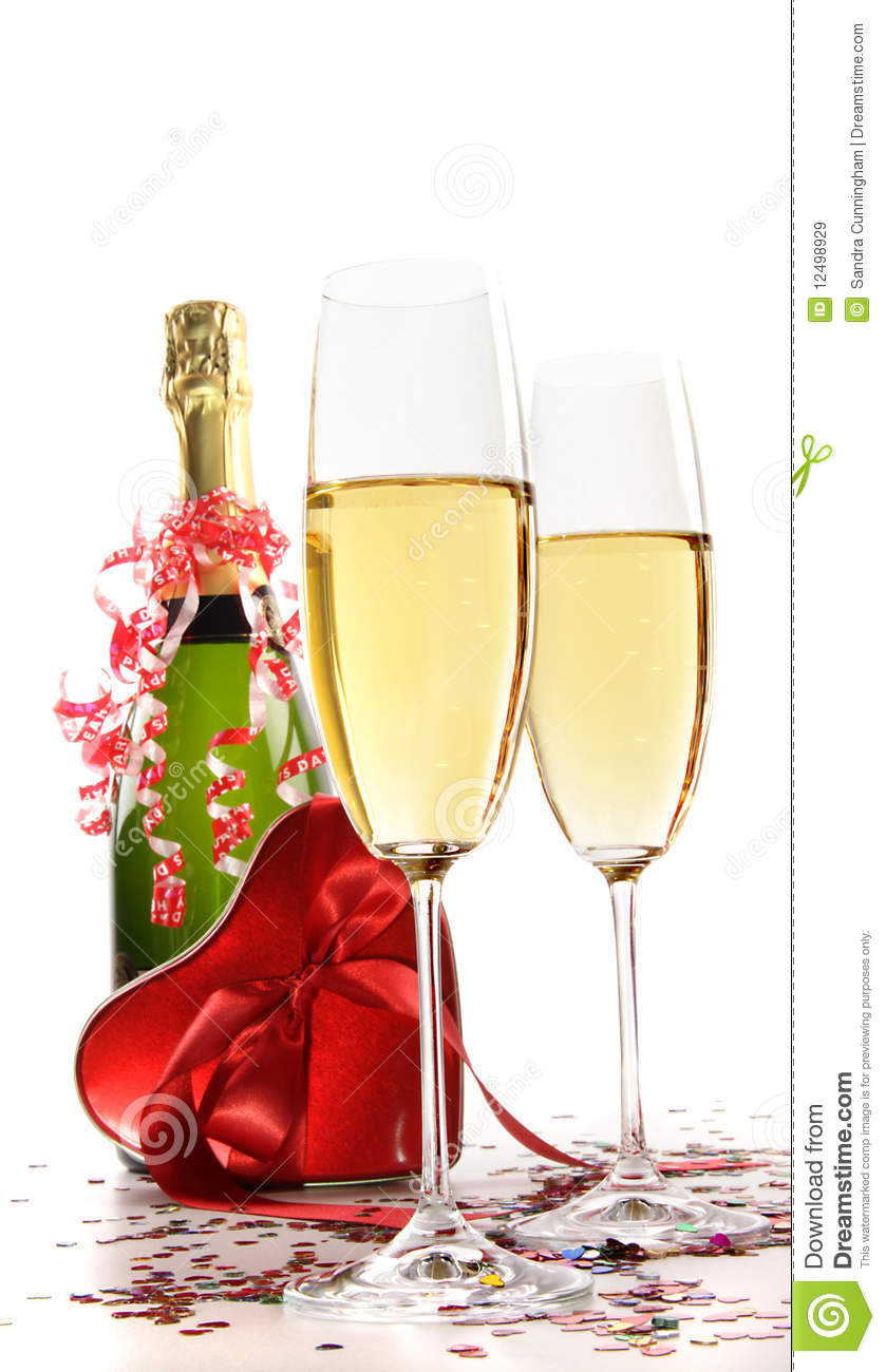 Glasses Of Champagne With Red Ribbon Heart Royalty Free
