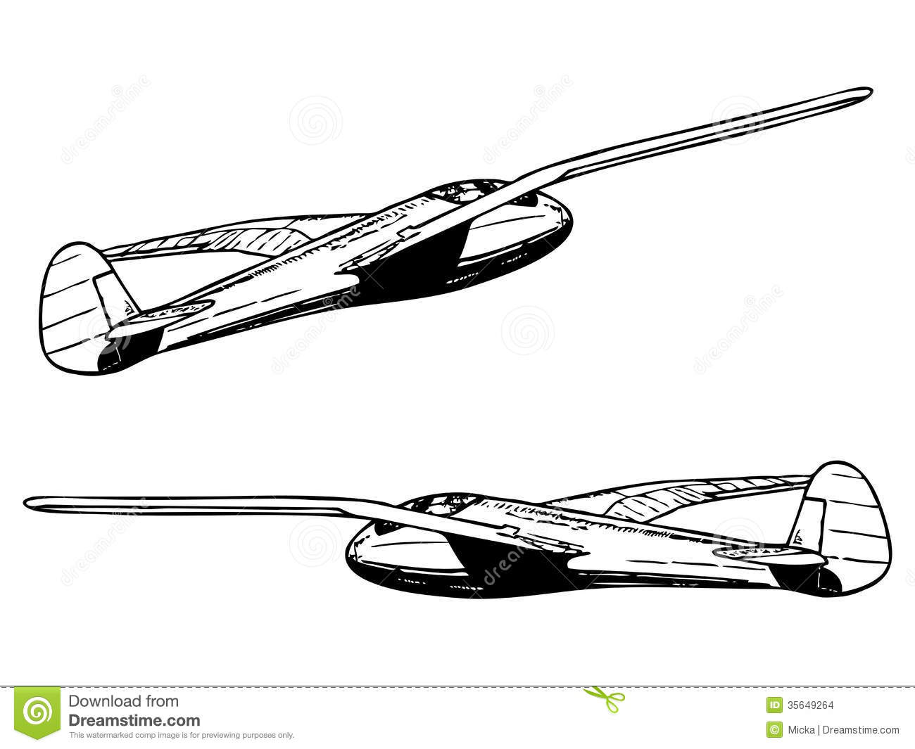 Glider sailplane in flight stock vector. Image of drawing