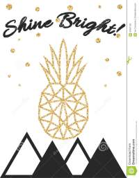 Glitter Shimmery Pineapple Print With Shine Bright Stock ...