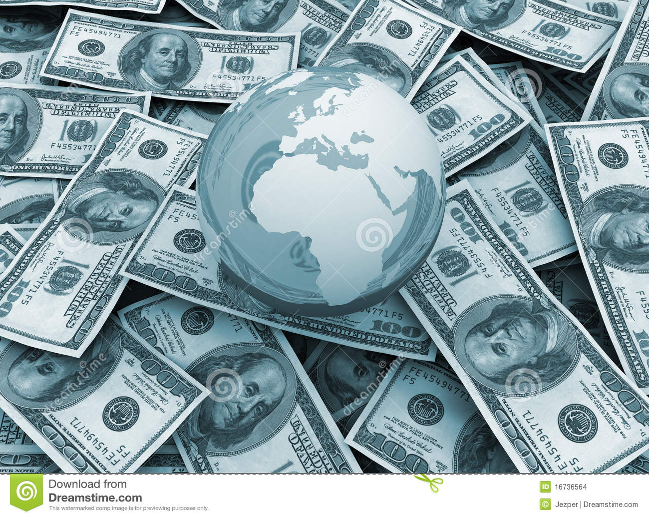 Global Economy  World Globe On Dollar Background Stock Images  Image 16736564