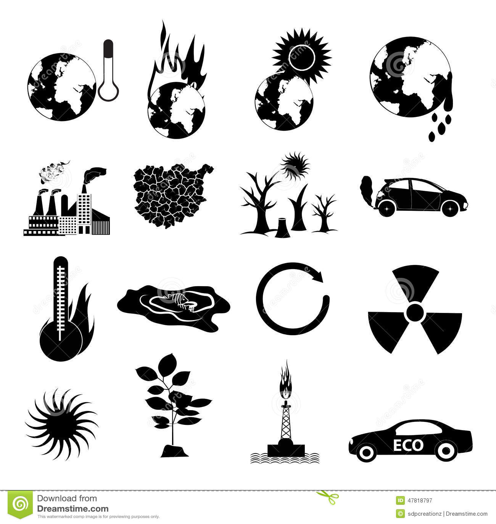 Global Warming Icons Set Stock Illustration Illustration