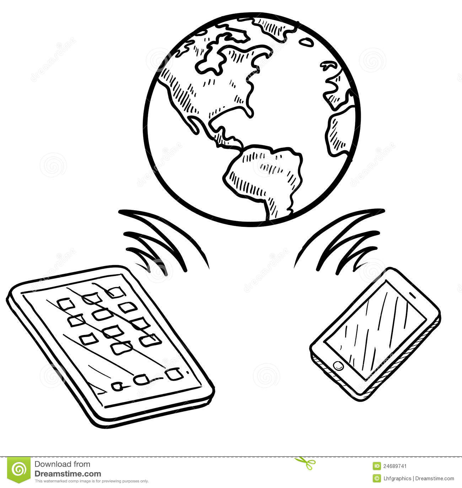 Globale Communicatie Schets Vector Illustratie