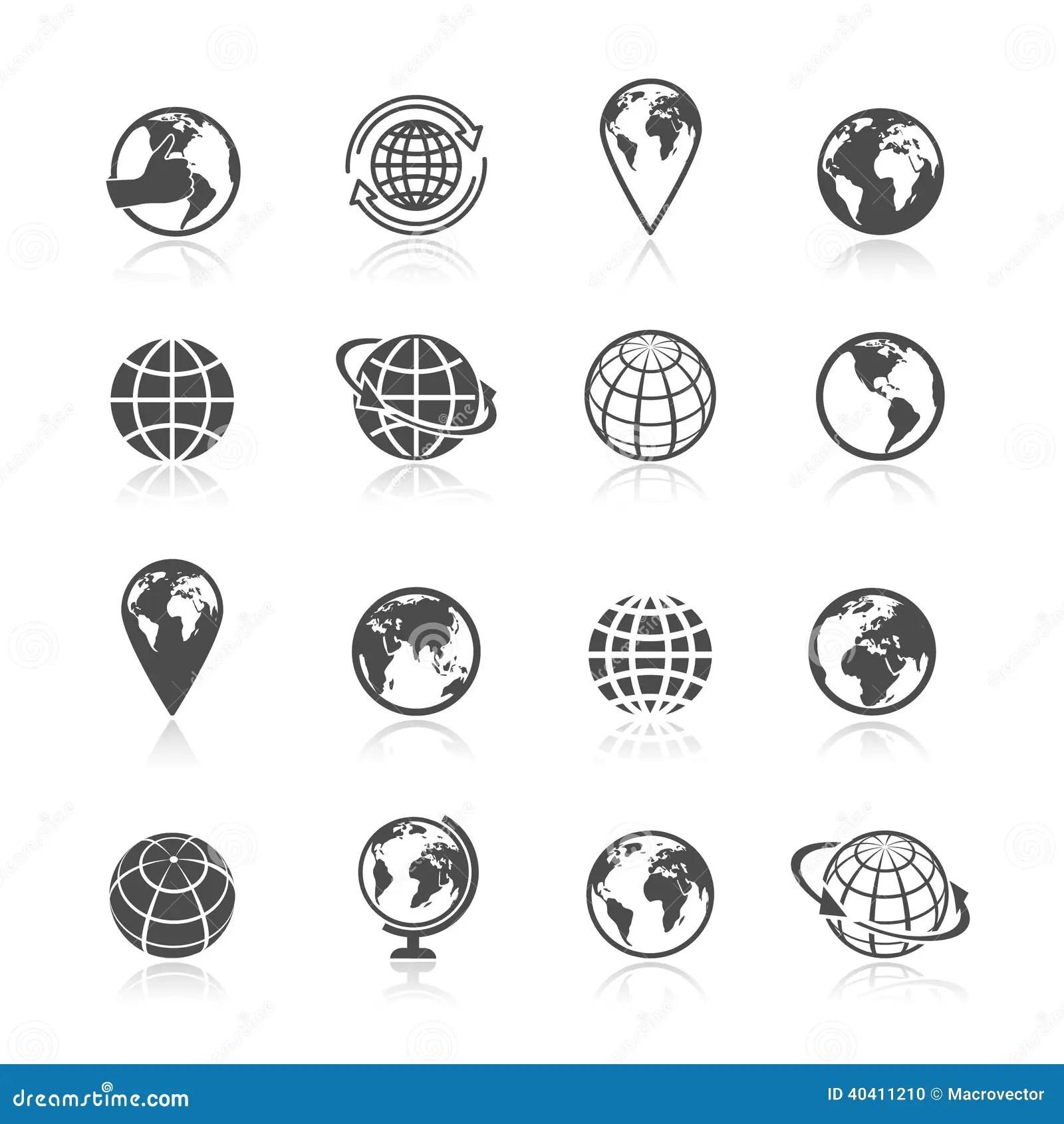 Globe Earth Icons Stock Vector Illustration Of Black