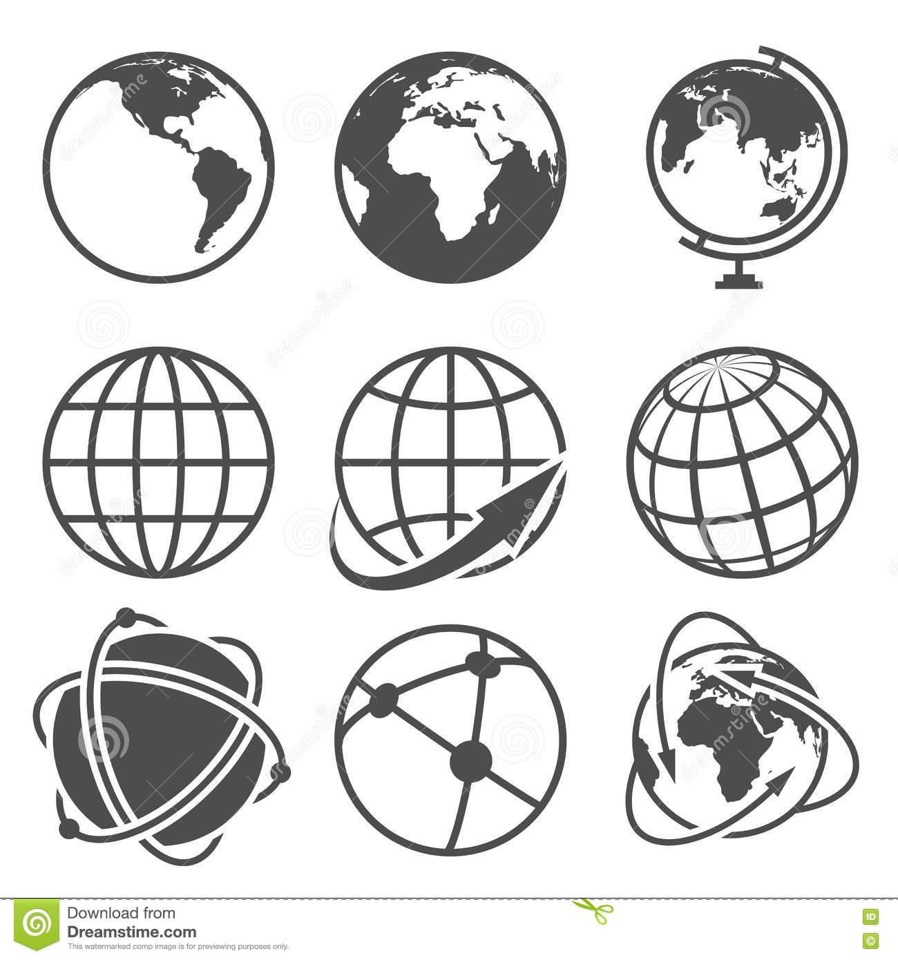 Earth Globe Icons Set Flat Design Cartoon Vector