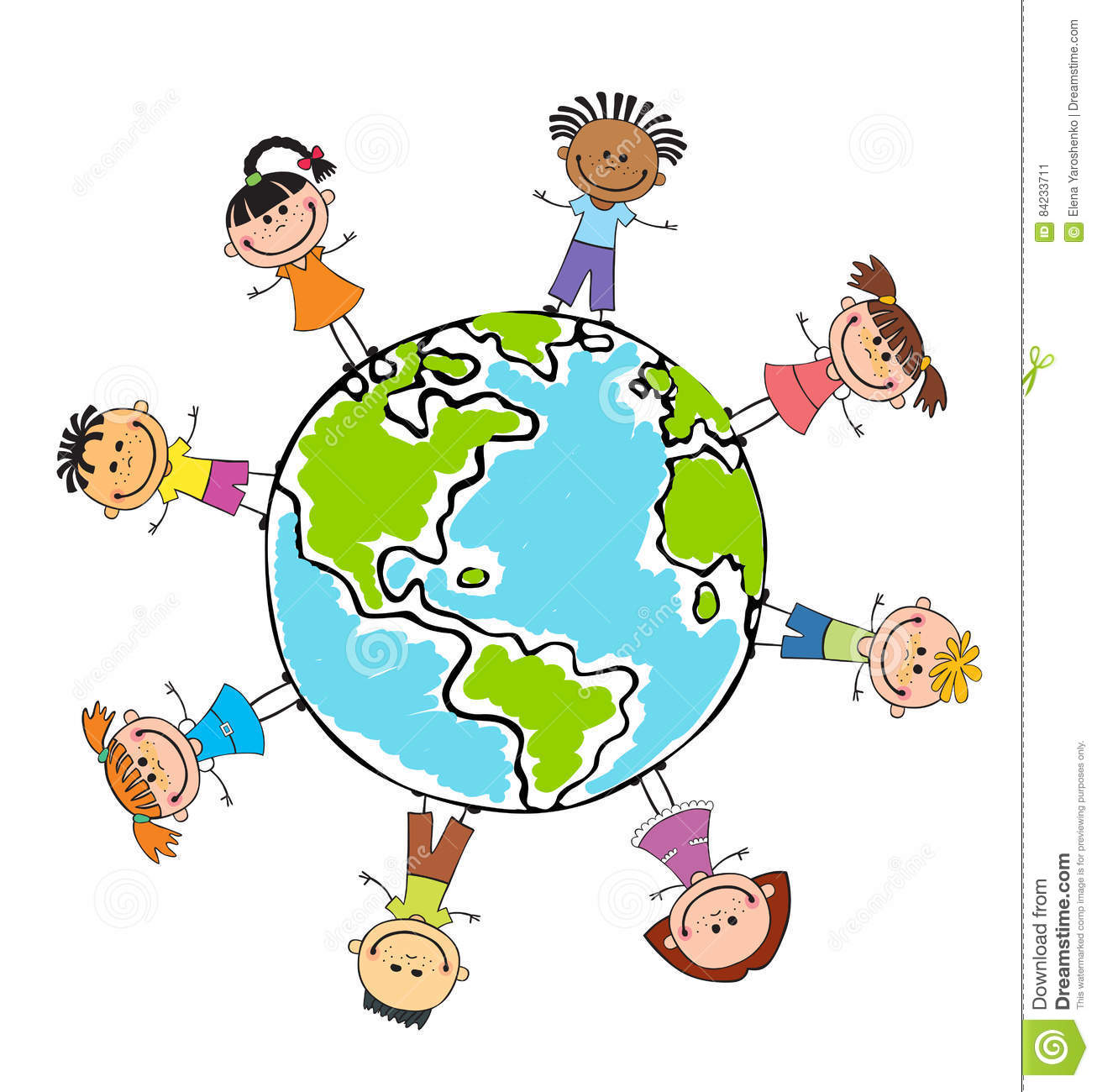 Globe Kids Children Earth Day Vector Stock Vector