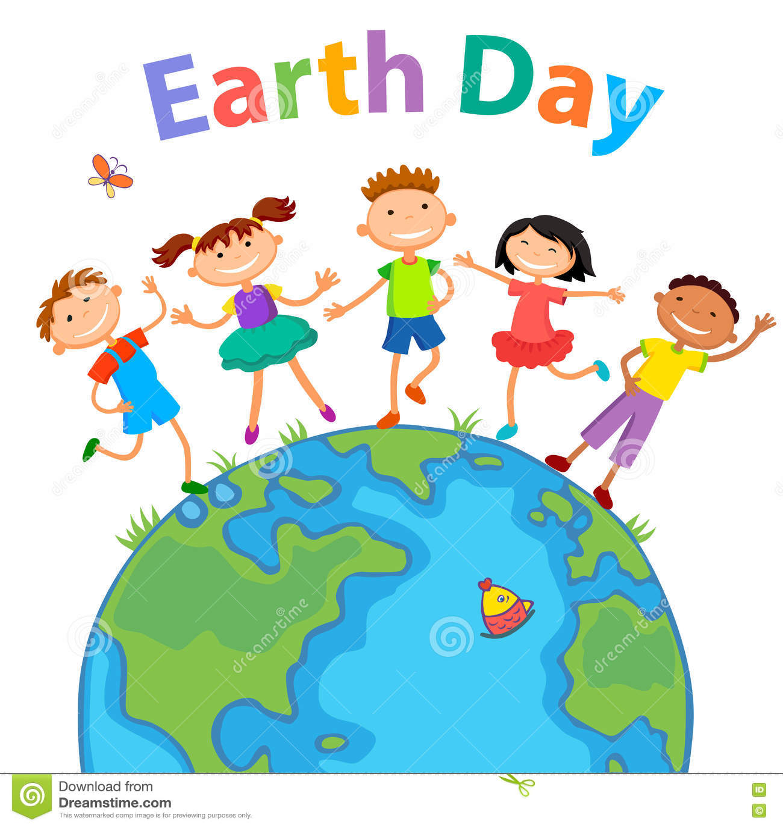 Globe Kids Children Earth Day Vector Stock Vector