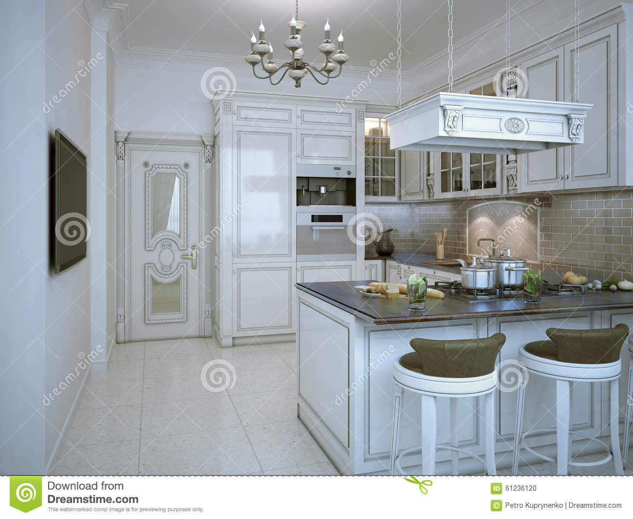 brick backsplash in kitchen white cupboards glossy art deco style stock illustration ...