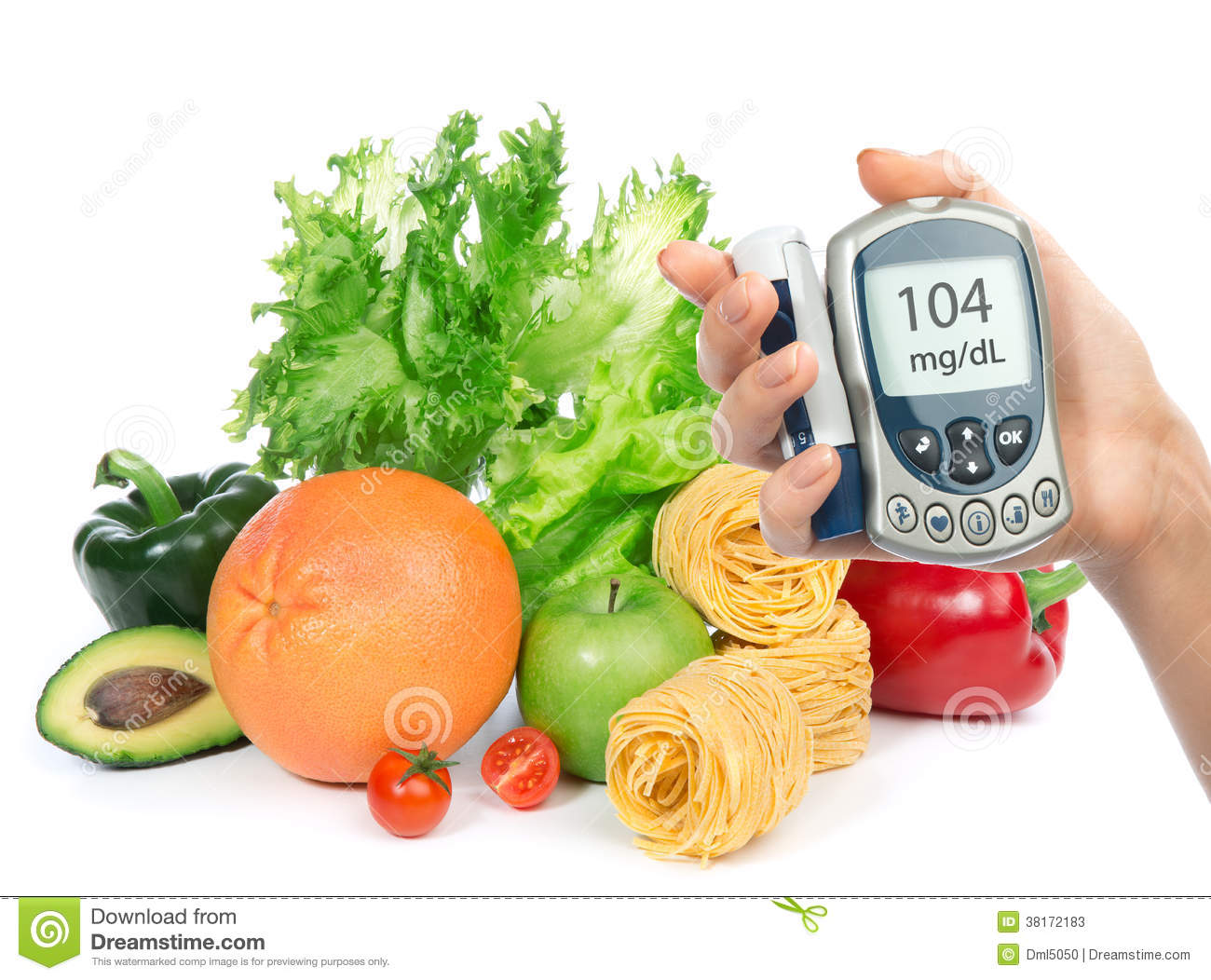 glucose level blood test meter in hand and healthy organic food stock