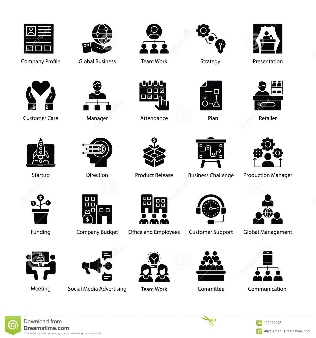 Glyph Icons Of Business Management Stock Illustration
