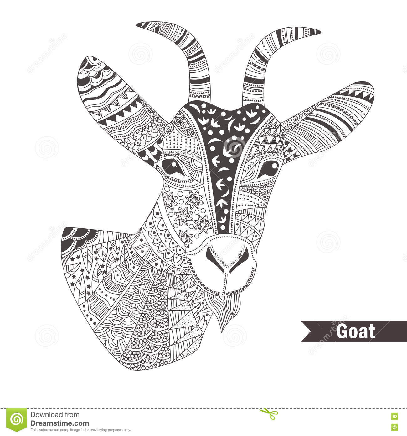 Goat Oloring Book Stock Vector Image Of Graphic Head