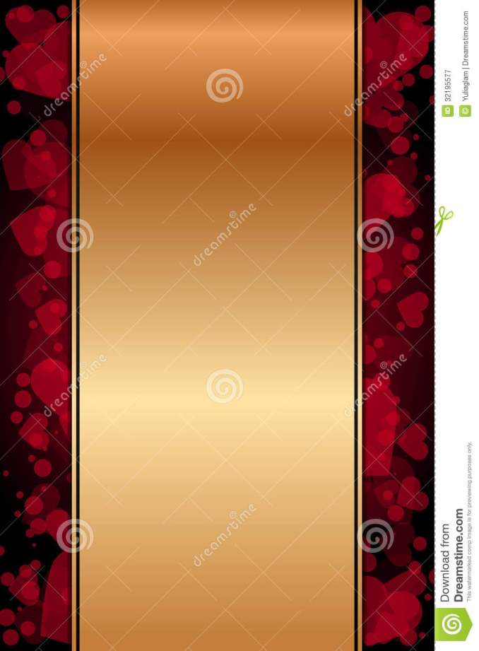 Gold Background With Red Hearts Royalty Free Stock