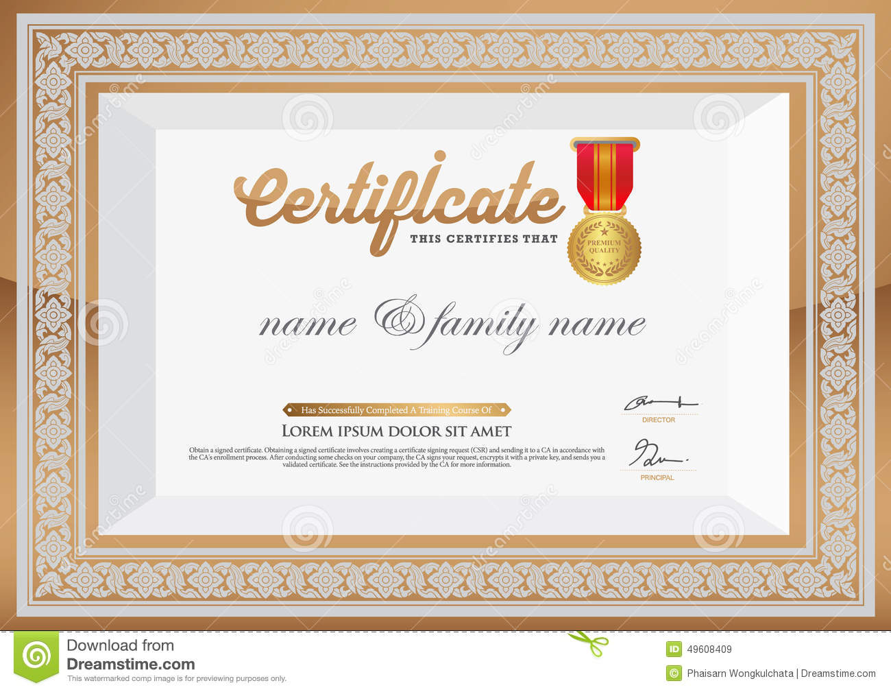 Gold Certificate Of Completion Template Thai Art Element