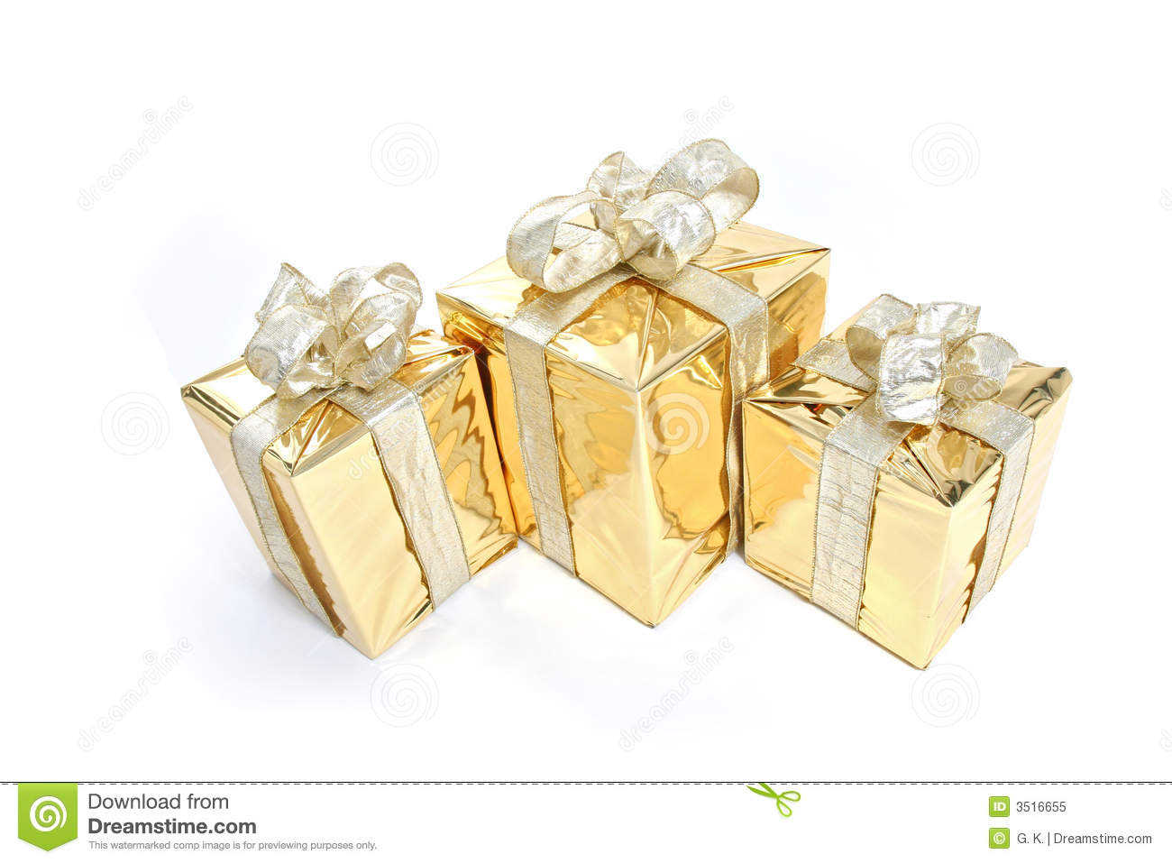 Gold Christmas Present Stock Image Image Of Decoration