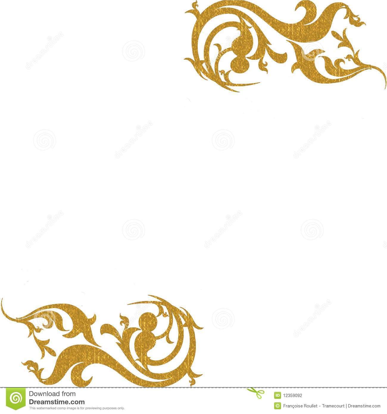 Gold Decorative Corners Background Stock Photography