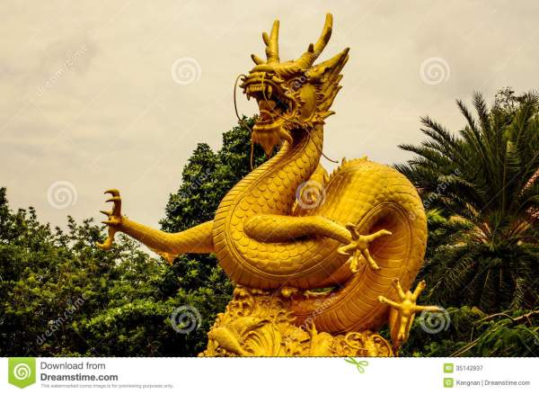 Ancient Gold Chinese Dragon Art