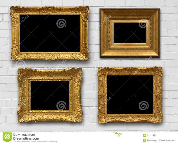 Gold Frames Brick Wall Stock Of Antique