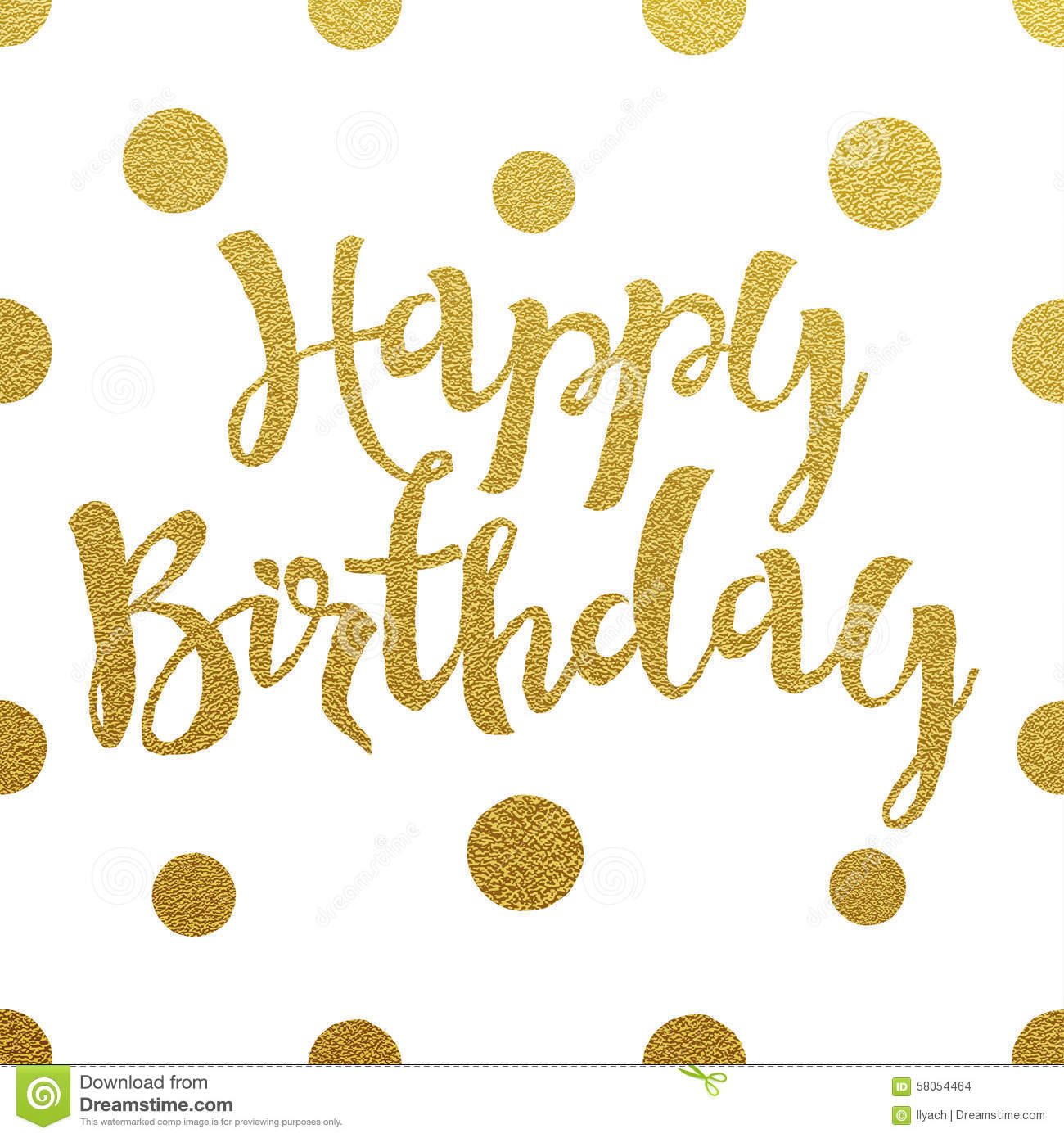 Gold Lettering Design For Card Happy Birthday Stock Vector