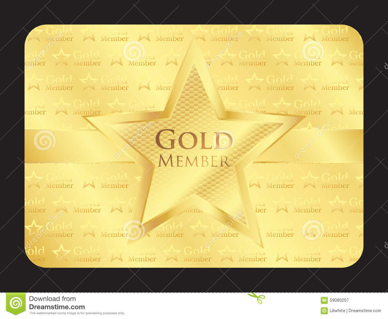 hight resolution of gold member club card with big star
