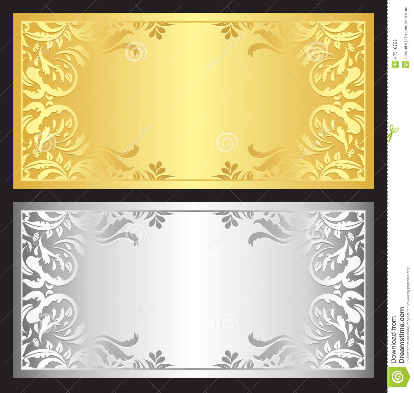 Gold And Silver Gift Coupon With Damask Ornament Stock