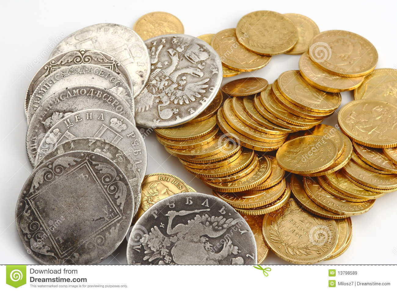 Gold and silver old coins stock image Image of background