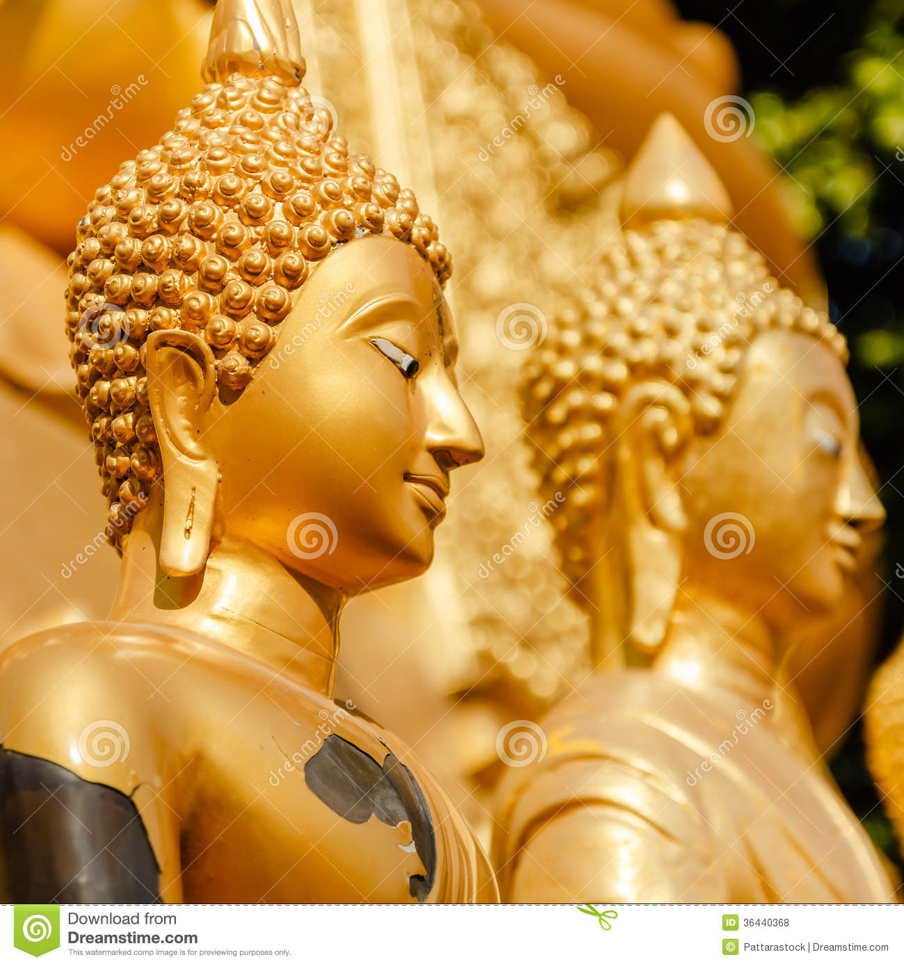 Gold Statue Of Buddha In Mae Sot Thailand Stock Photo