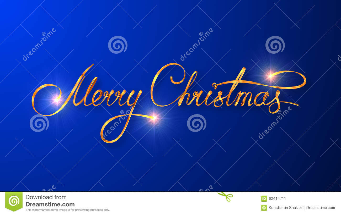 Gold Text Design Of Merry Christmas On Blue Color
