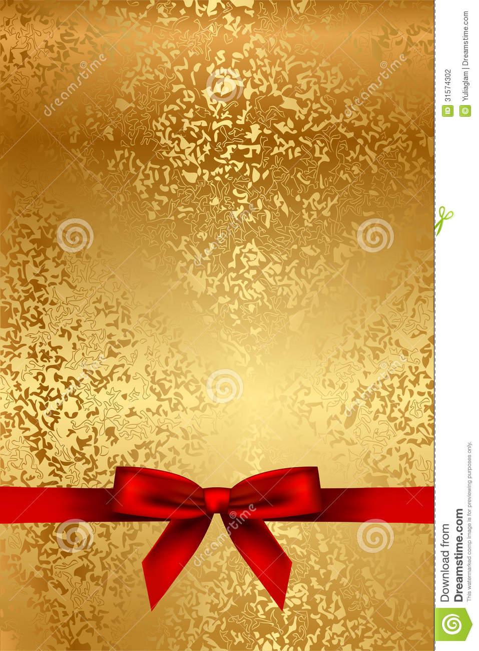Gold Texture With Red Bow Stock Photography Image 31574302