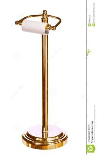 Gold Toilet Paper Holder Standing Isolated On White Stock ...