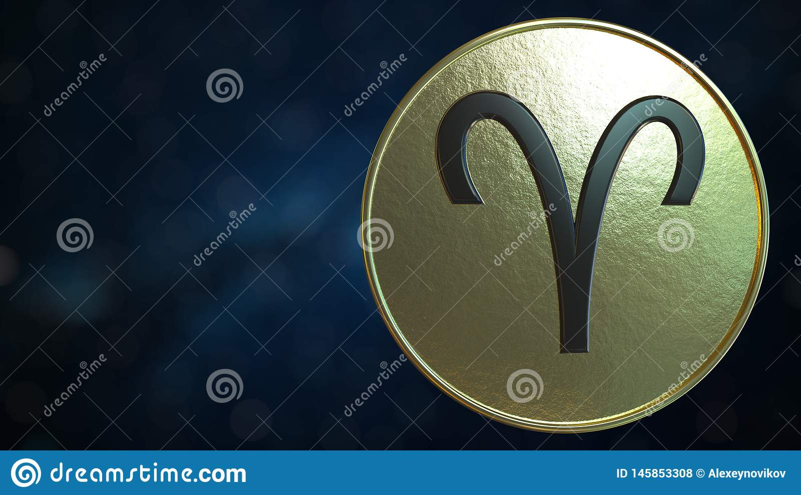 gold token with aries