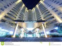 Goldcity Hotel Entrance Night Editorial Stock
