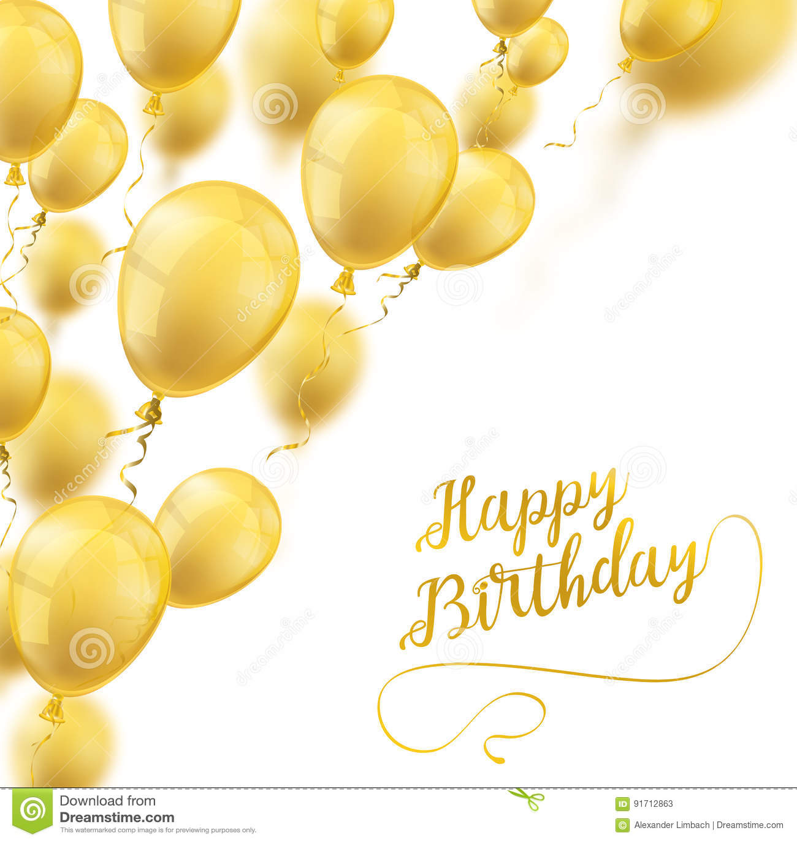 Golden Balloons Cover Happy Birthday Stock Illustration