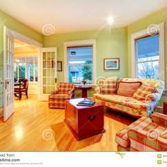 Green And Red Living Room Houzz Paint Golden Bright Luxury With Sofas Stock Photo