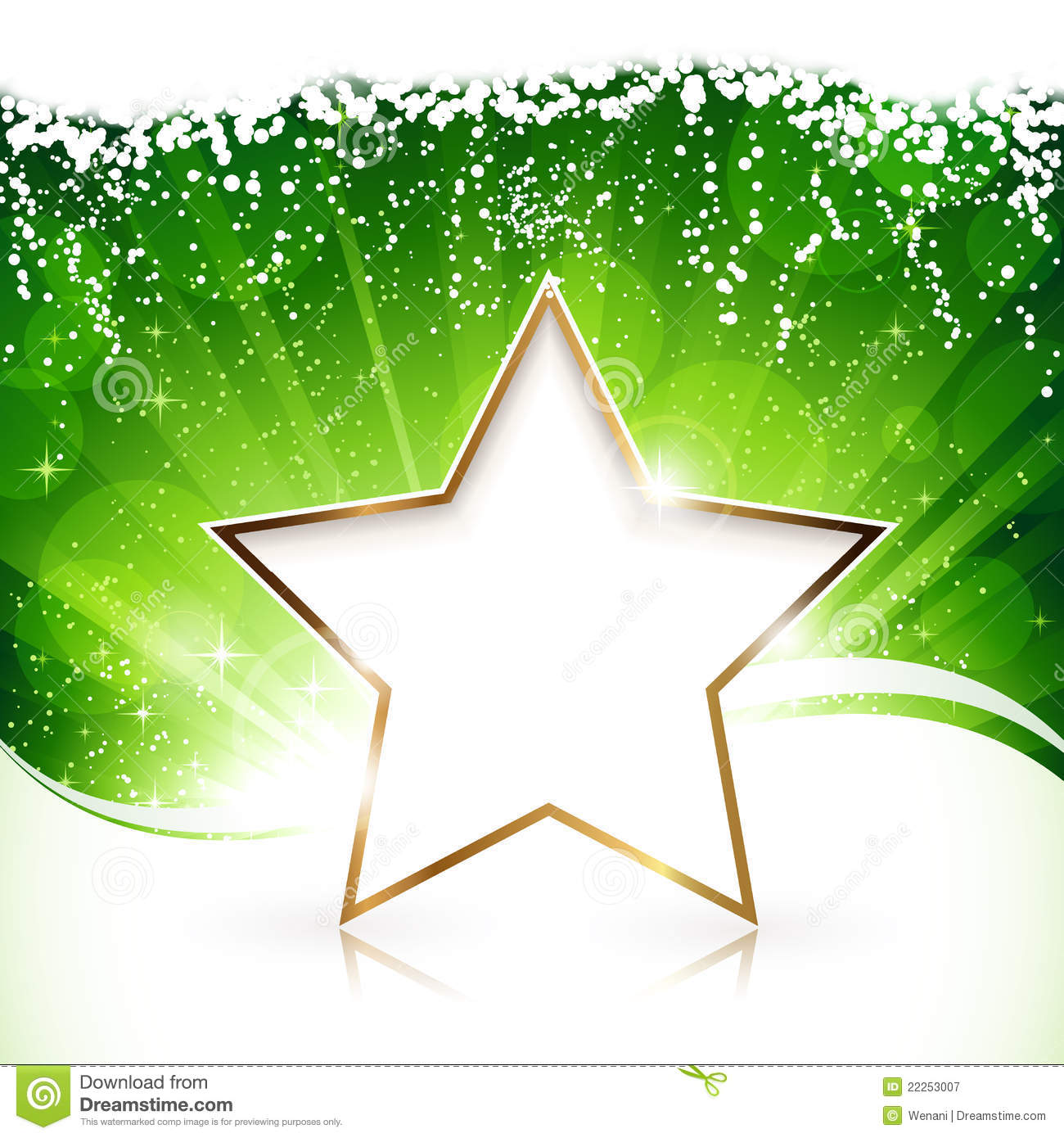 New 3d Animation Wallpaper Golden Christmas Star On Green Background Royalty Free