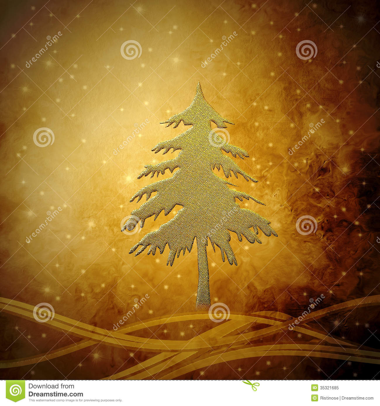 Golden Christmas Tree Christmas Greeting Card Background