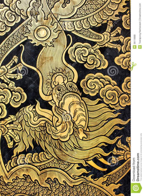 Golden Chinese Dragon Art