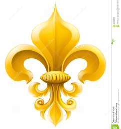 golden fleur de lis decorative design or heraldic symbol  [ 1133 x 1300 Pixel ]