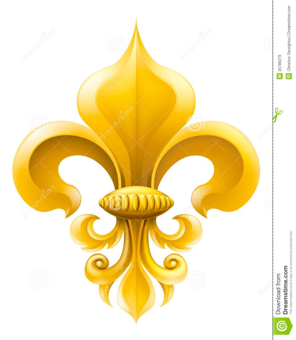 medium resolution of golden fleur de lis decorative design or heraldic symbol