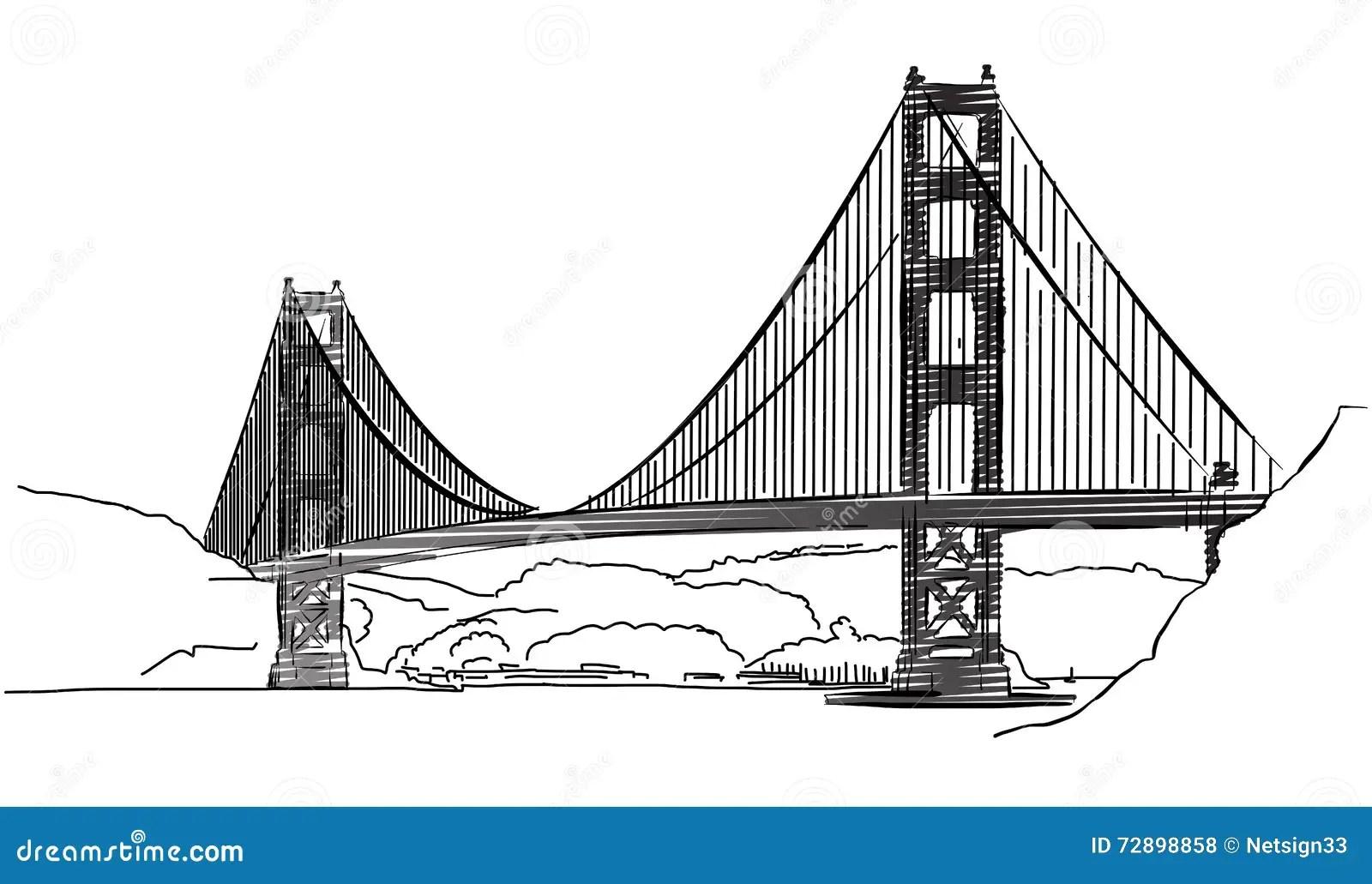 Golden Gate Bridge, San Francisco, Outline Sketch Stock