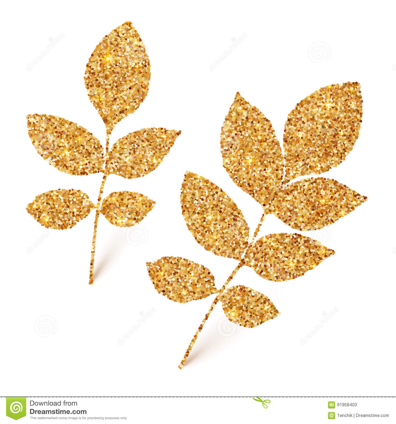 Fall Leaves Iphone 7 Wallpaper Golden Glitter Leaves Isolated On White Background Stock