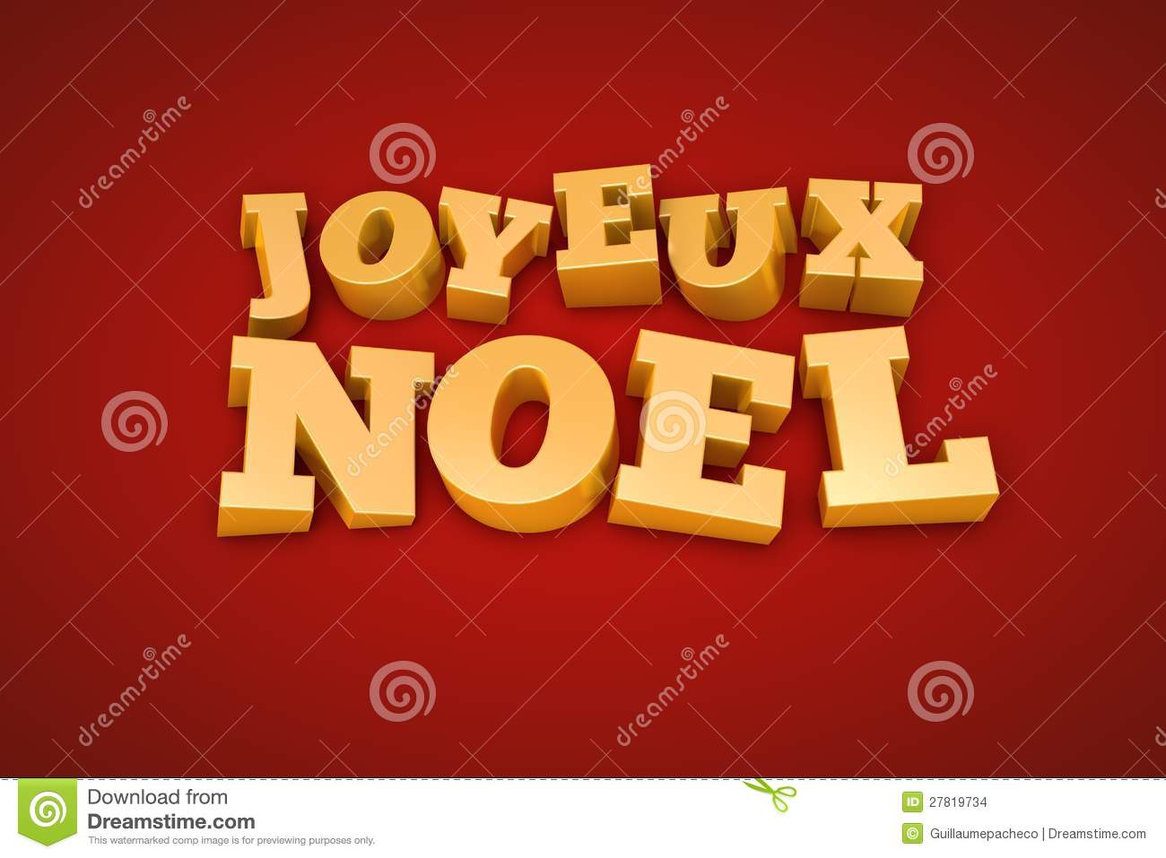 Golden Joyeux Noel Text On A Red Background Stock Images