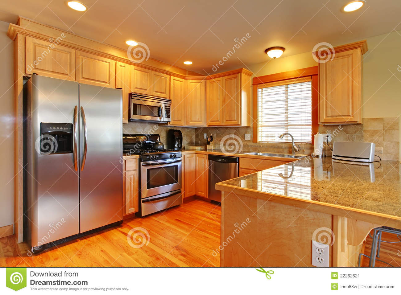 Golden Maple Beautiful Cabinets Kitchen Stock Image