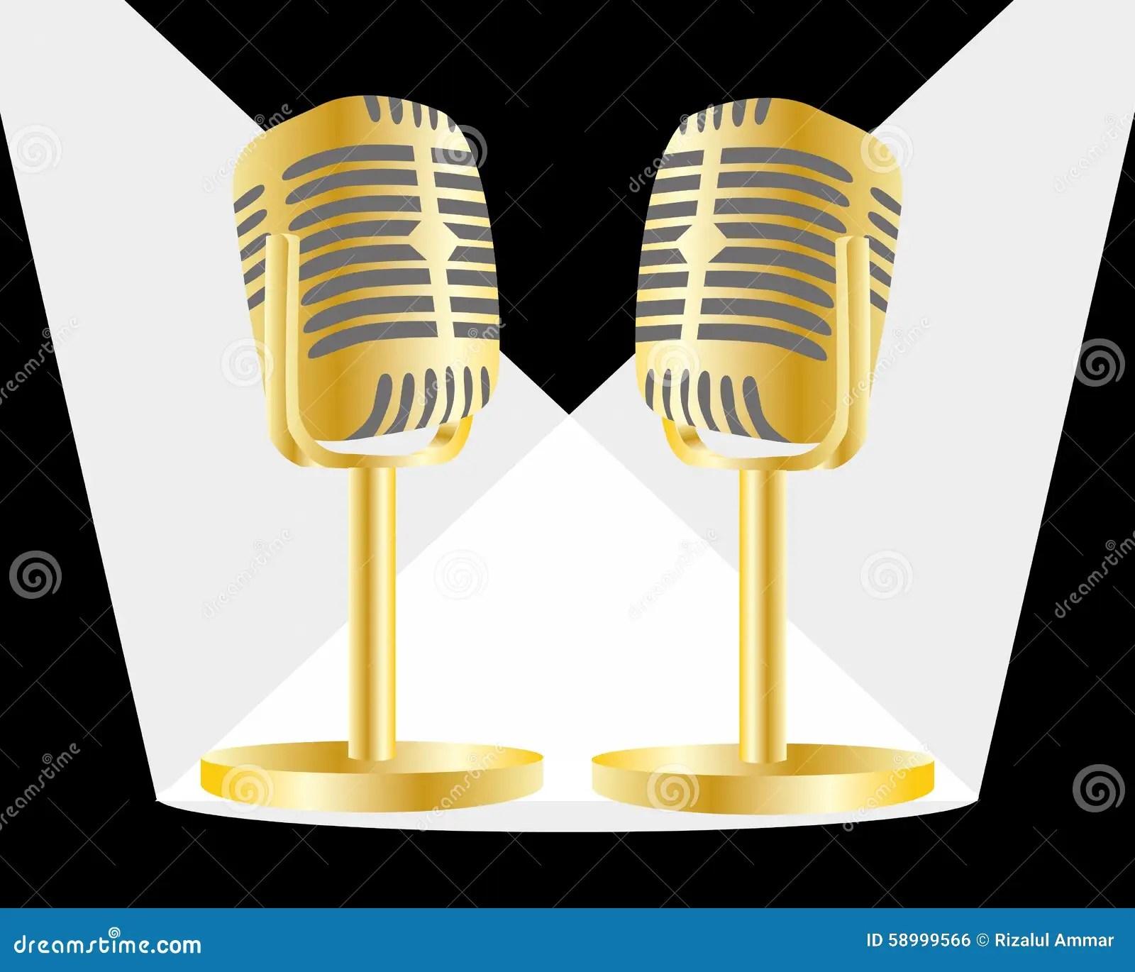 golden mic stock vector