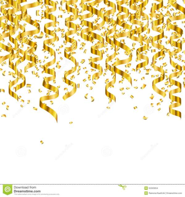 golden party streamers stock illustration