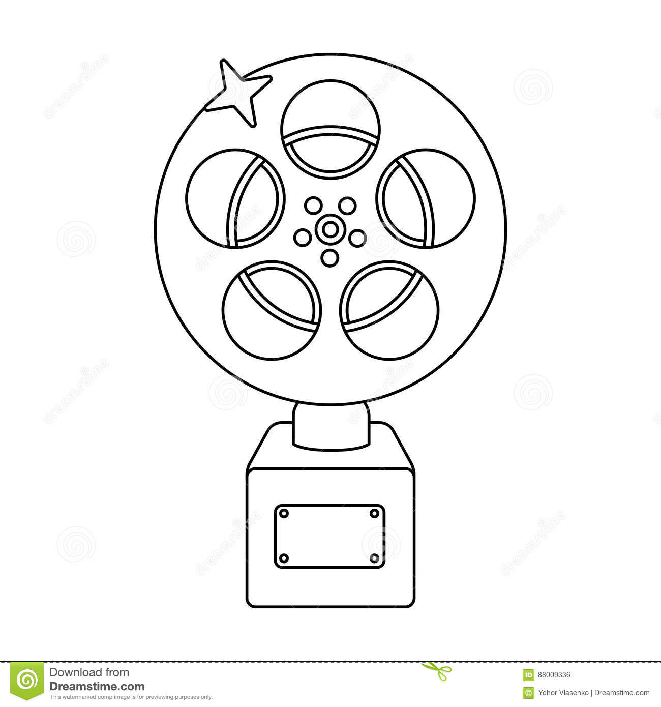Film Icon, Outline Style Vector Illustration