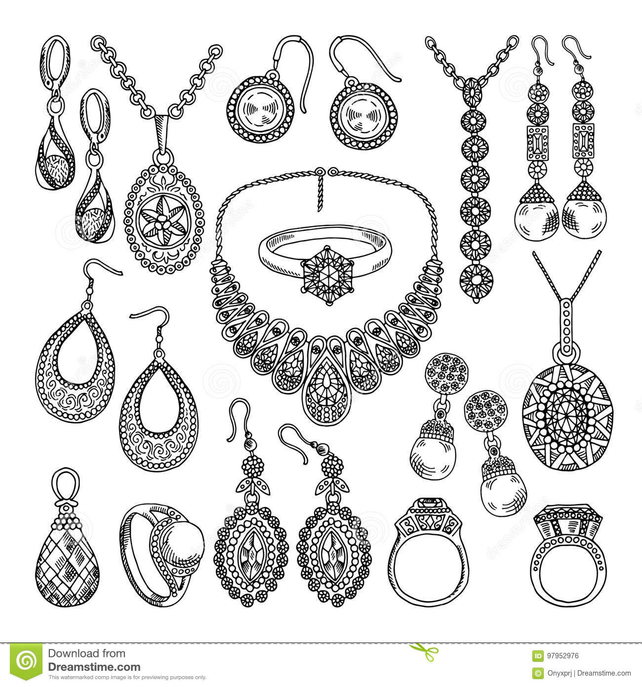 Golden And Silver Jewelry. Different Diamonds And Crystals