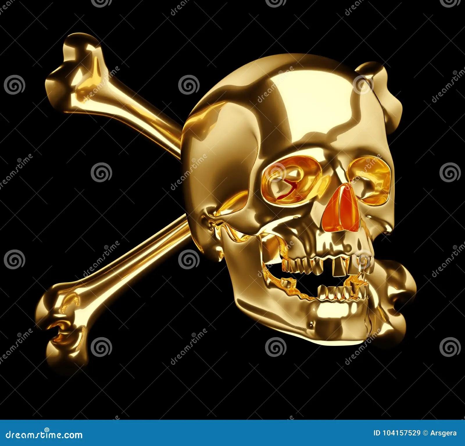 Golden Skull With Cross Bones Or Totenkopf Stock Illustration Illustration Of Life Danger 104157529